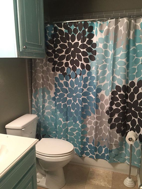 Shower Curtain Blue Brown Front By Swirledpeasdesigns On Etsy