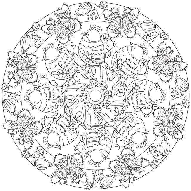 Free Butterfly Flower Bird Mandala Printable Coloring Page From Dover Publications