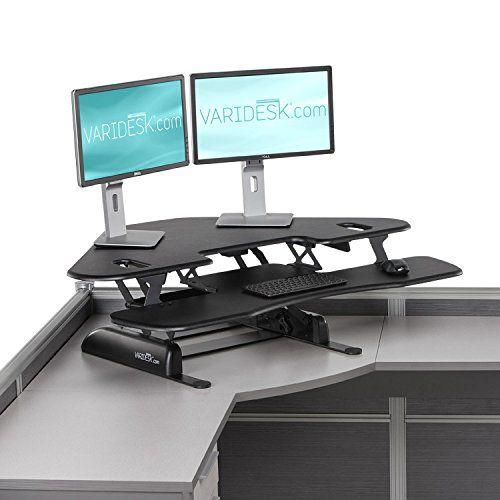 Amazon Com Varidesk Cube Corner 48 Height Adjustable Standing Desk For Cubicles Offi Adjustable Standing Desk Adjustable Height Standing Desk Standing Desk