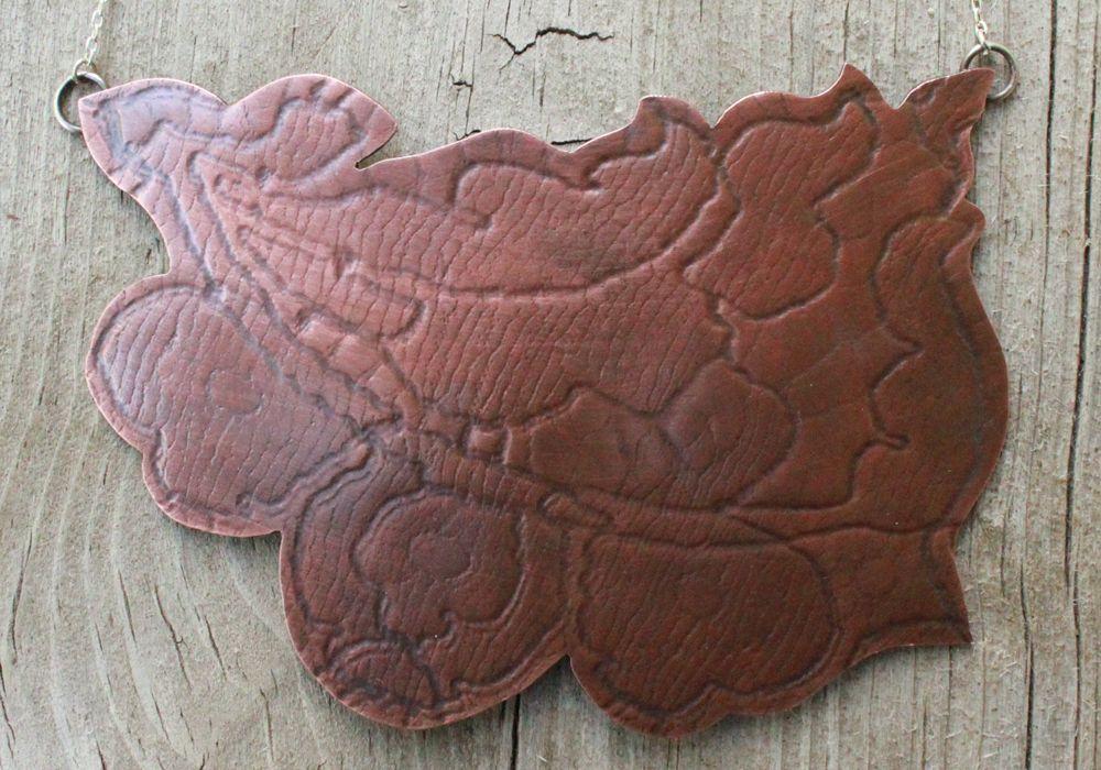 Vintage Lace Textured Necklace- Copper