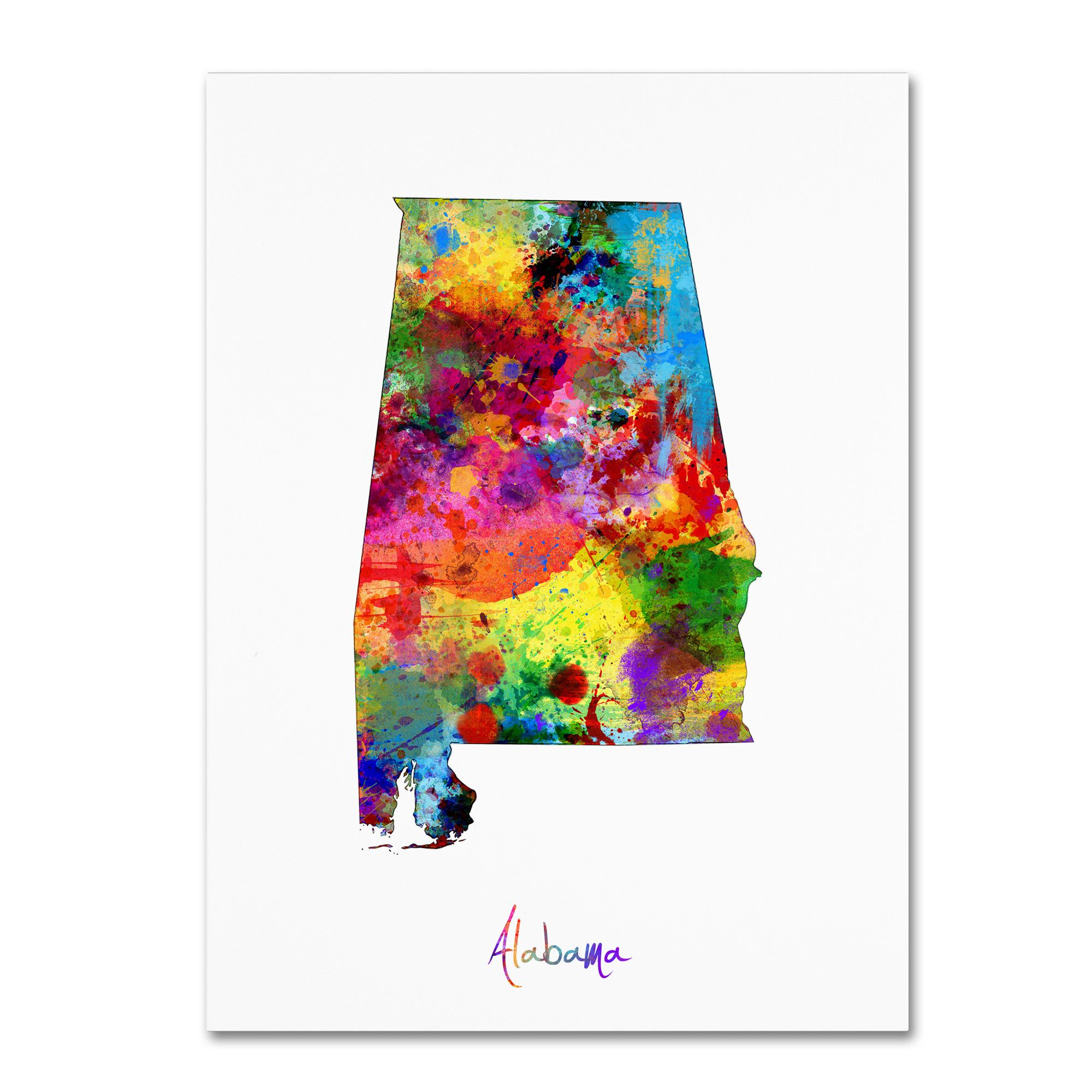 Alabama Map by Michael Tompsett Graphic Art on Wrapped Canvas