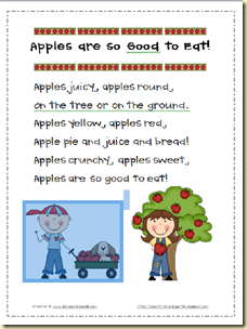 Apples are so good to eat poem lilcountrykindergarten