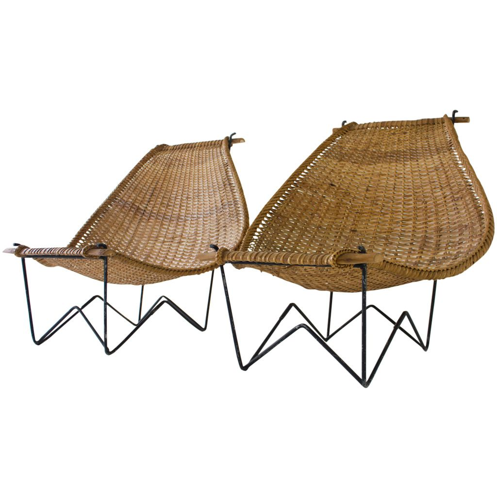 Antique lounge chairs - Duyan Rattan Lounge Chairs By John Risley