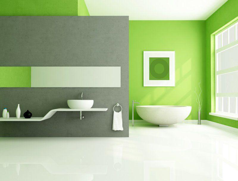 Dispersionsfarbe Badezimmer ~ Die kalte betonwand mit frischer grüner wandfarbe kombinieren