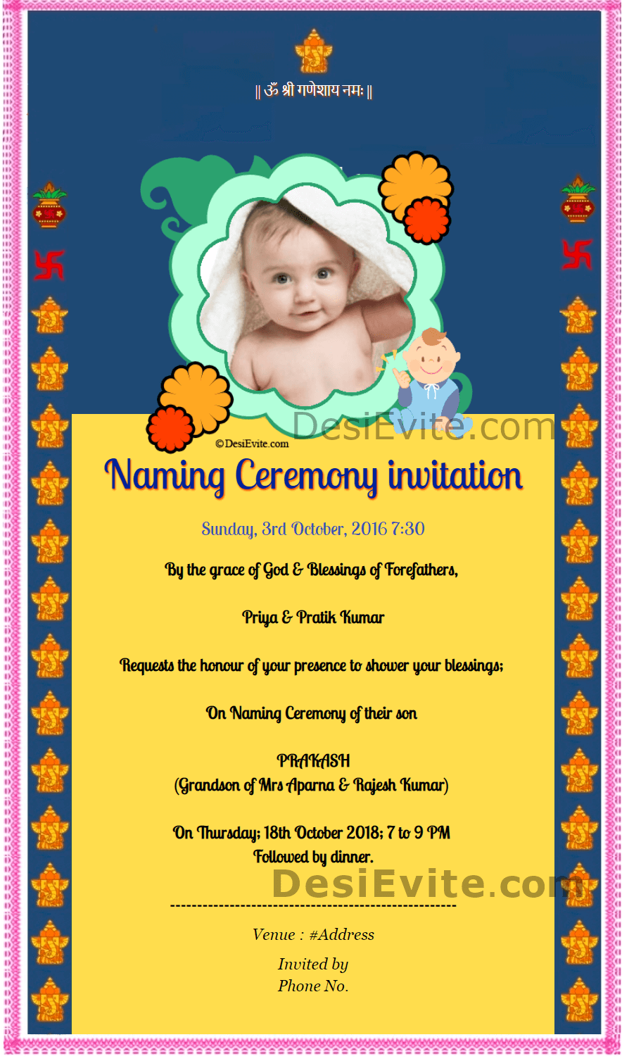 Hindu Traditional Naming Ceremony Invitation Card Design