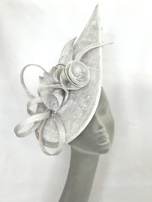 LULU Silver Grey Teardrop Fascinator Hatinator Headpiece for Mother of the  Bride 7f936076451