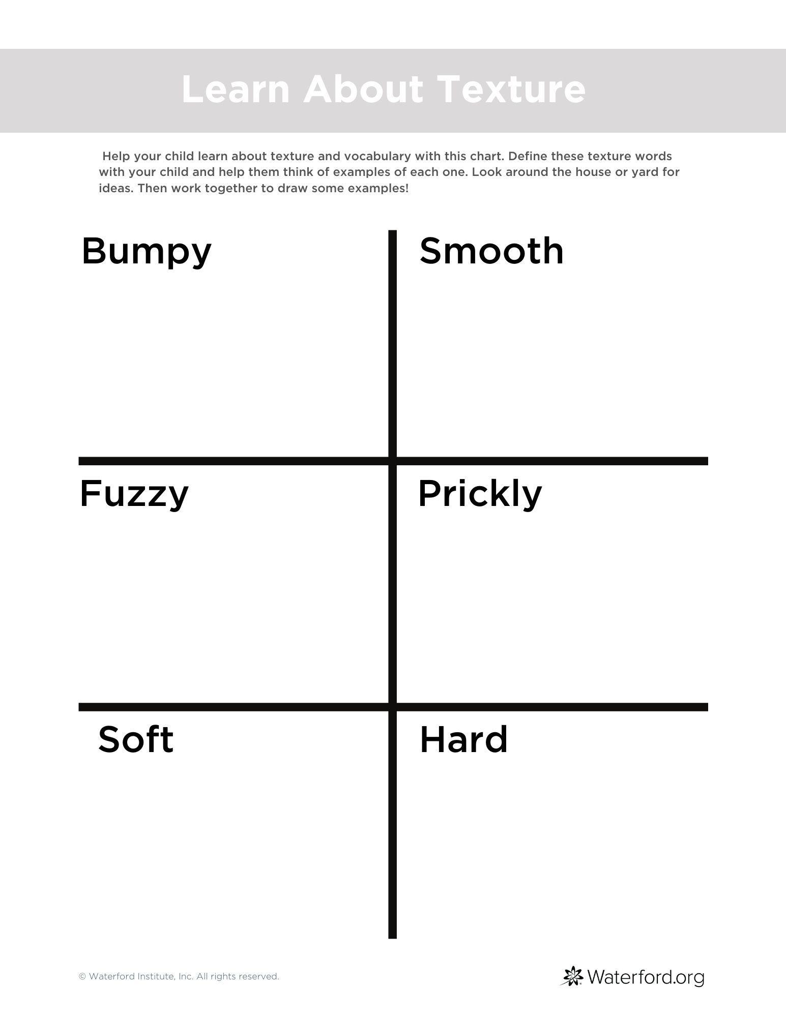 Texture Worksheet Texture Words Worksheets Vocabulary