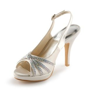Zapatos peep toe de novia de seda y satén blanco con lazo de estilo dulce hKxe3f