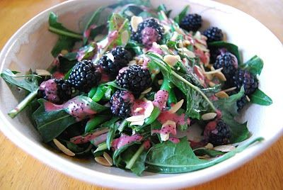 Dandelion greens, blackberries, green beans and toasted almonds with a blackberry vinaigrette - Vegan