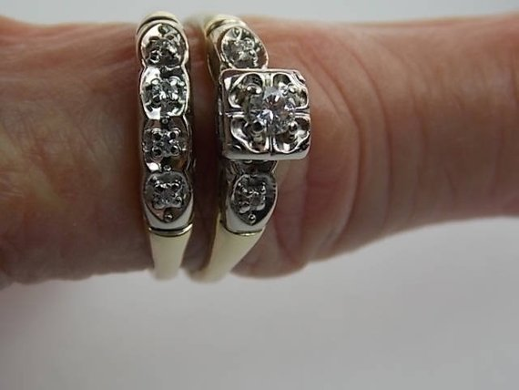 1950s Bridal Wedding Ring Set 24ctw Yellow Gold White Gold 5 6gm