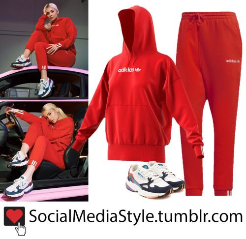 ef8f8d67b2d Buy Kylie Jenner's adidas Originals Red Coeeze Hoodie and Sweatpants and  Falcon Sneakers here!