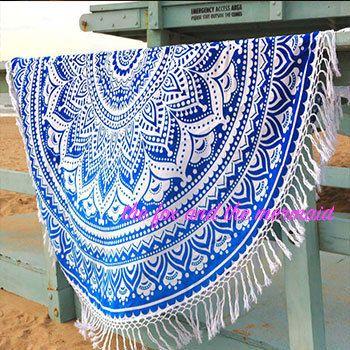 Blue Ombre Mandala Tapestry Roundie Boho Beach Blanket