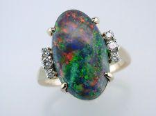 Vintage Antique 5.22ct Black Opal & Diamond 14K Gold Engagement / Fashion Ring