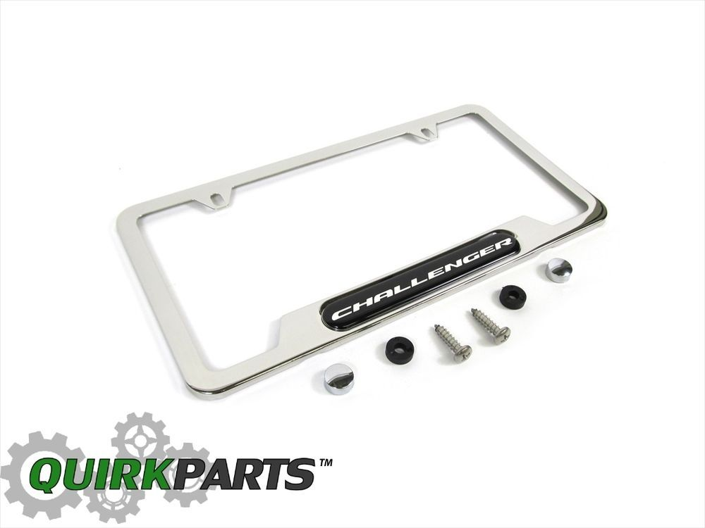 DODGE CHALLENGER CHROME LICENSE PLATE FRAME WITH SILVER EMBLEM NEW ...