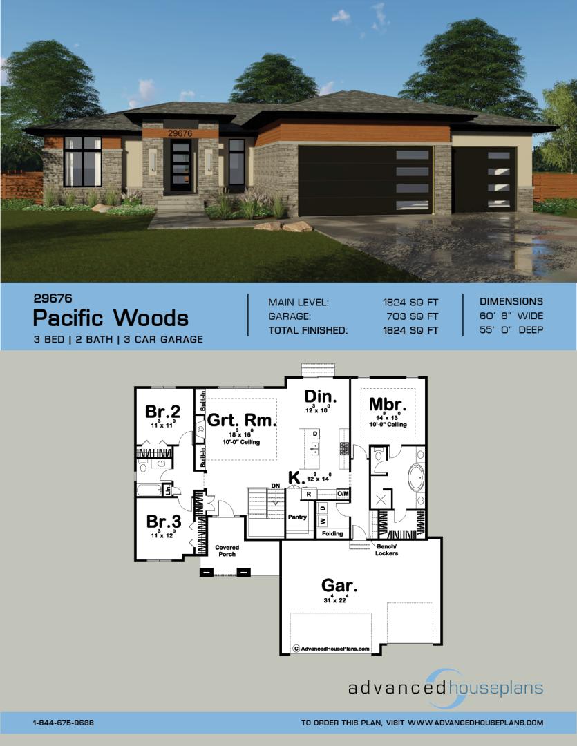 1 Story Modern Prairie Style Plan Pacific Woods In 2020 House Plans House Plans One Story My House Plans