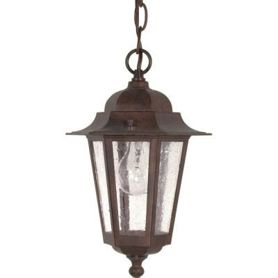 Glomar Cornerstone 1-Light Outdoor Old Bronze Incandescent Hanging Light-HD-992 at The Home Depot