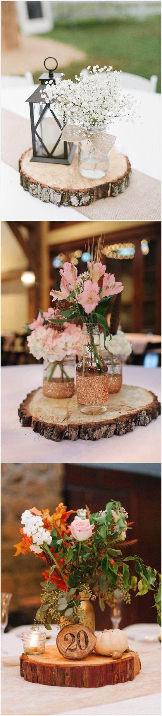 Rustic Woodsy Wedding Trend 2018 Tree Stump Wedding Centerpieces