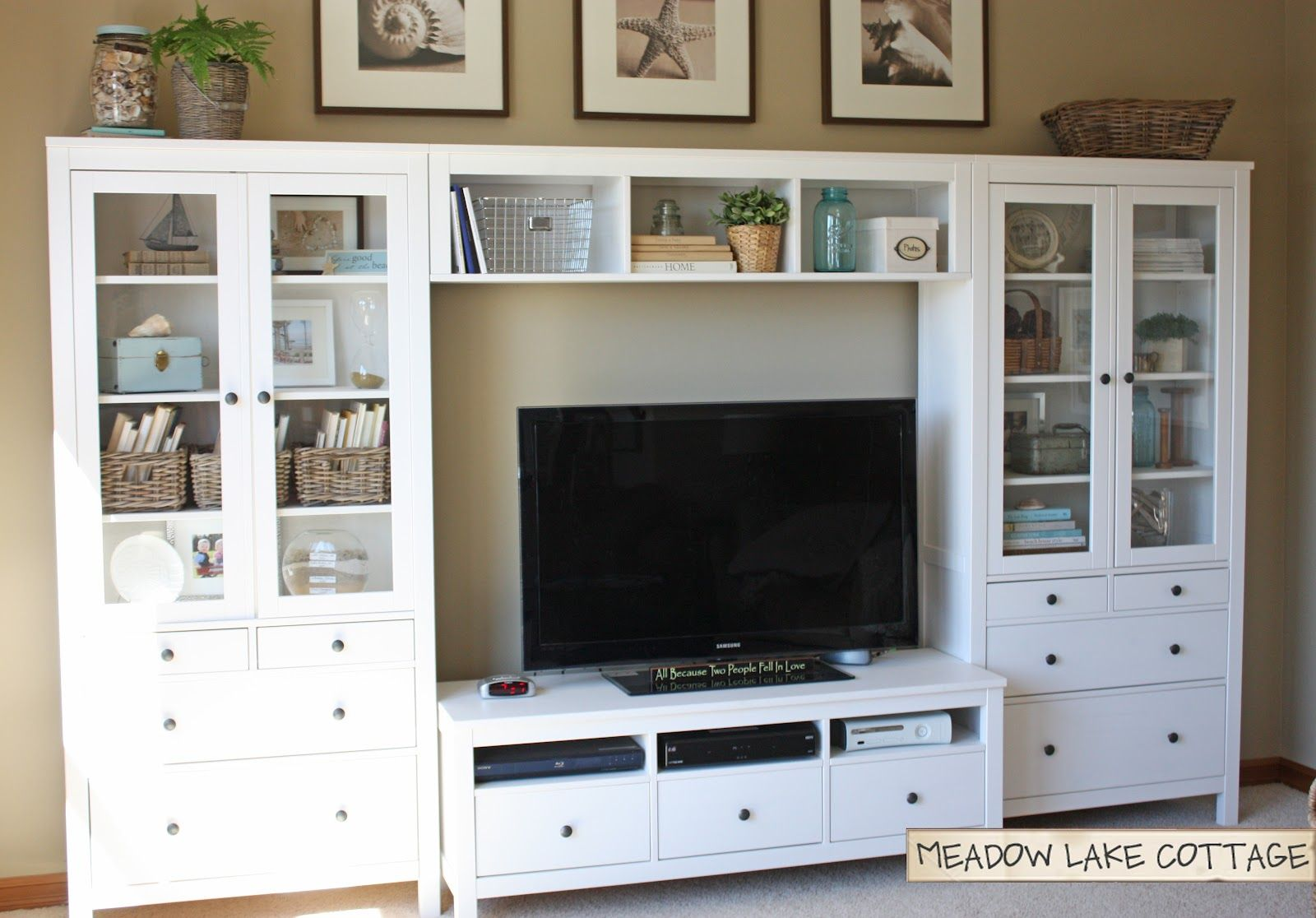 Accessorized White Entertainment Center HEMNES Tv