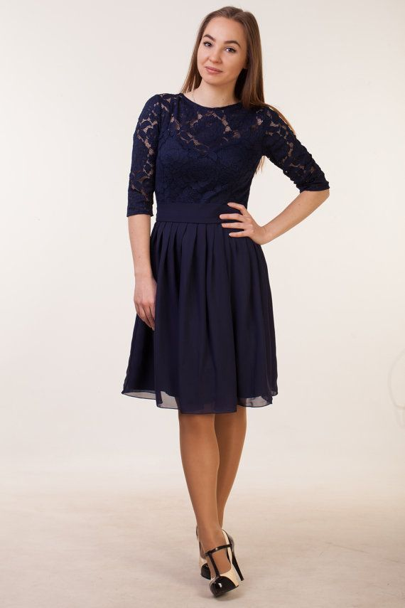 0d62c743f0 Short navy blue dress with sleeves. Navy bridesmaid knee length. Lace blue cocktail  dress. Short par