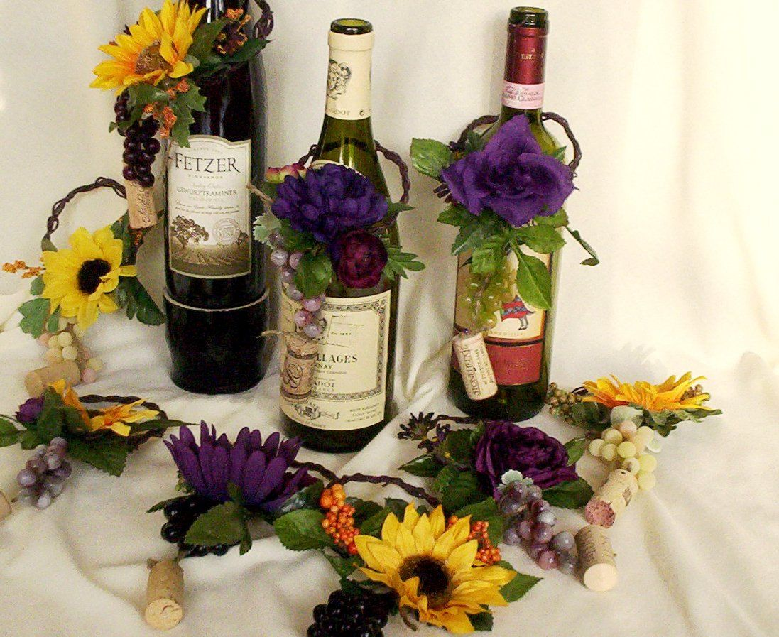 Sunflower wedding centerpieces wine bottle toppers decoration purple great ideas for vineyardwine themed wedding receptions junglespirit Image collections