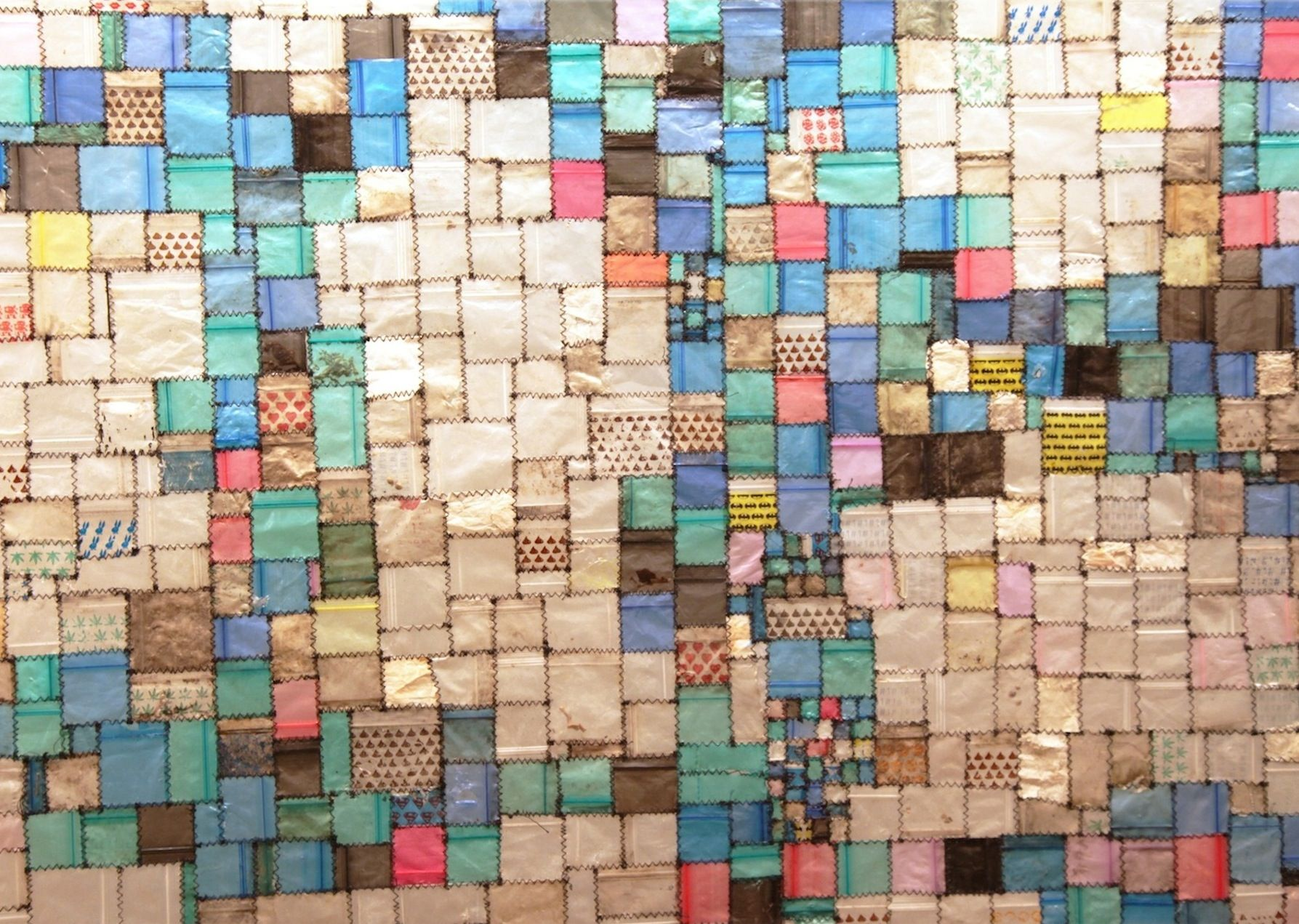 Tom Fruin. Treasure Map: R.V. Ingersoll. Found drug bags, thread.