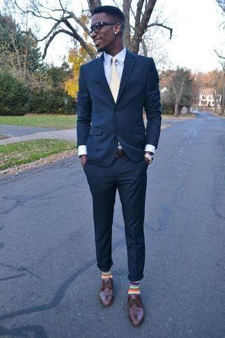 Men's Navy Blazer, Blue Dress Shirt, Navy Dress Pants, Brown Leather Derby  Shoes