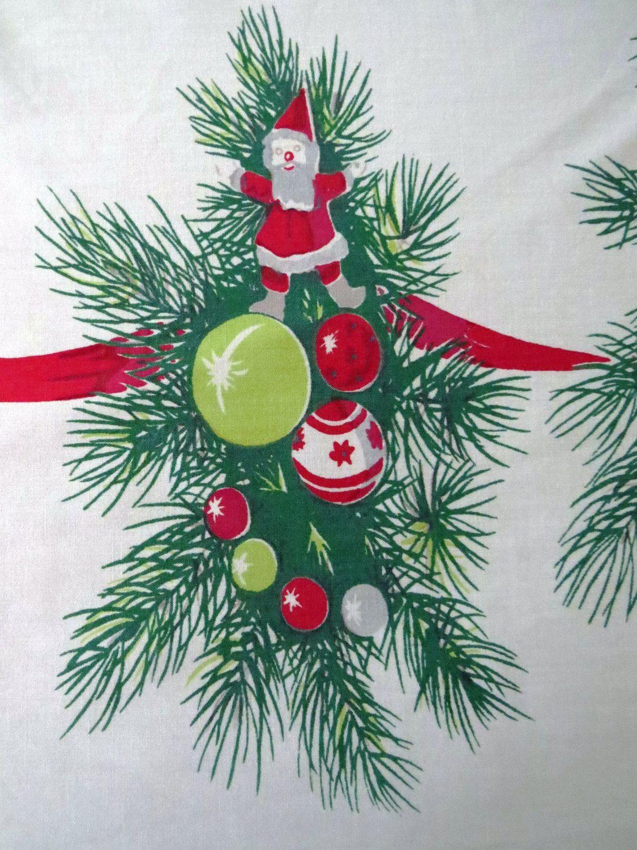 Vintage 1950s Large Retro Christmas Tablecloth