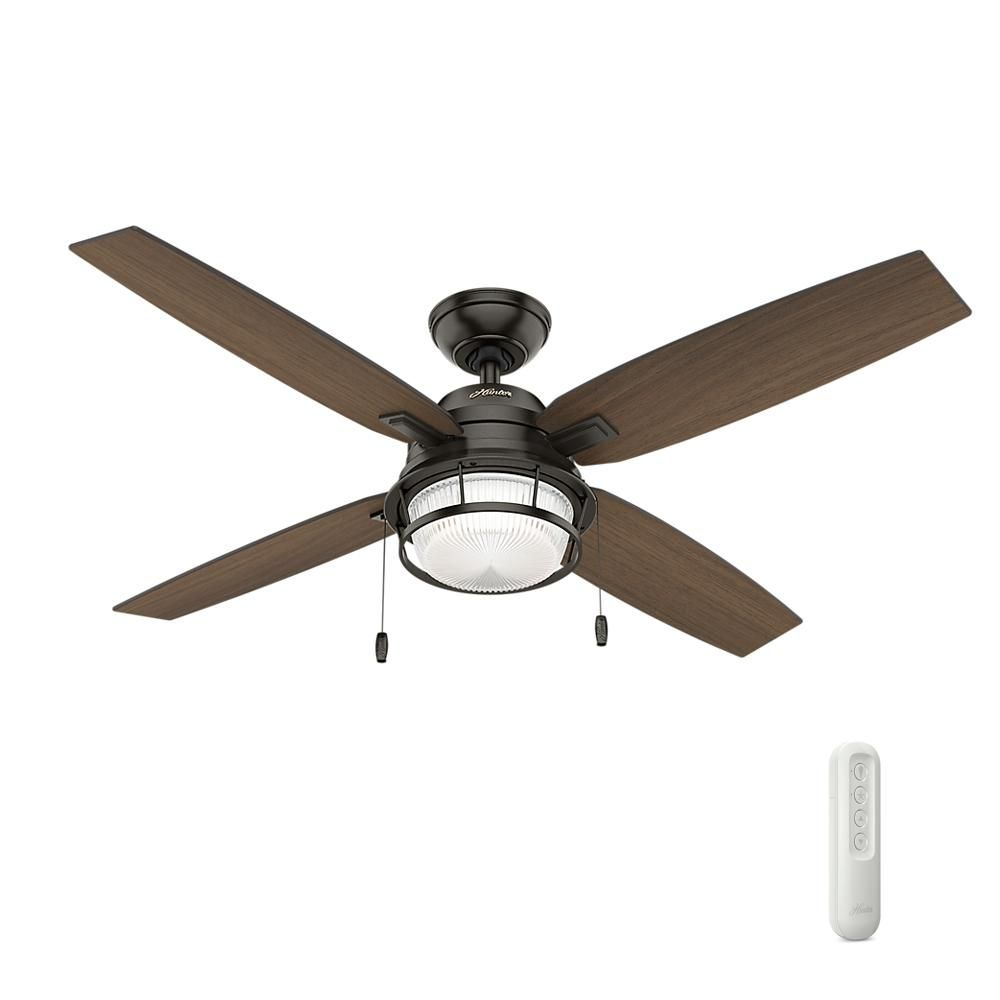 Hunter Ocala 52 In Led Indoor Outdoor Noble Bronze Ceiling Fan With Light And Bundled With Remote Control In 2019 Products Ceiling Fan Outdoor Fan With L