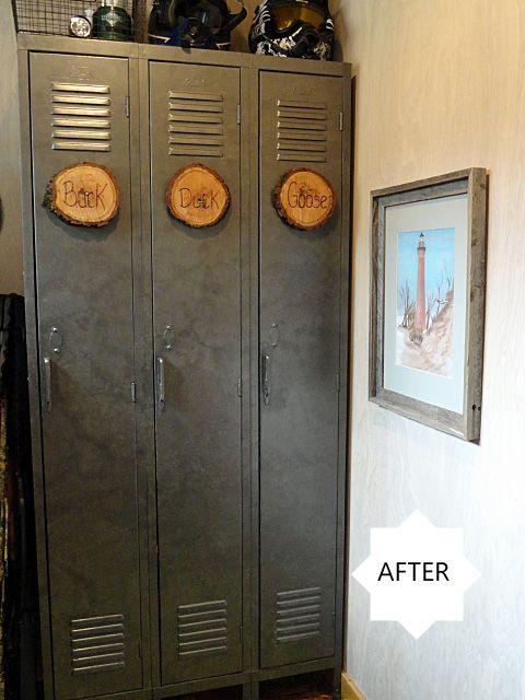 Galvanized Lockers Using Gunmetal Paint And A Round Sponge
