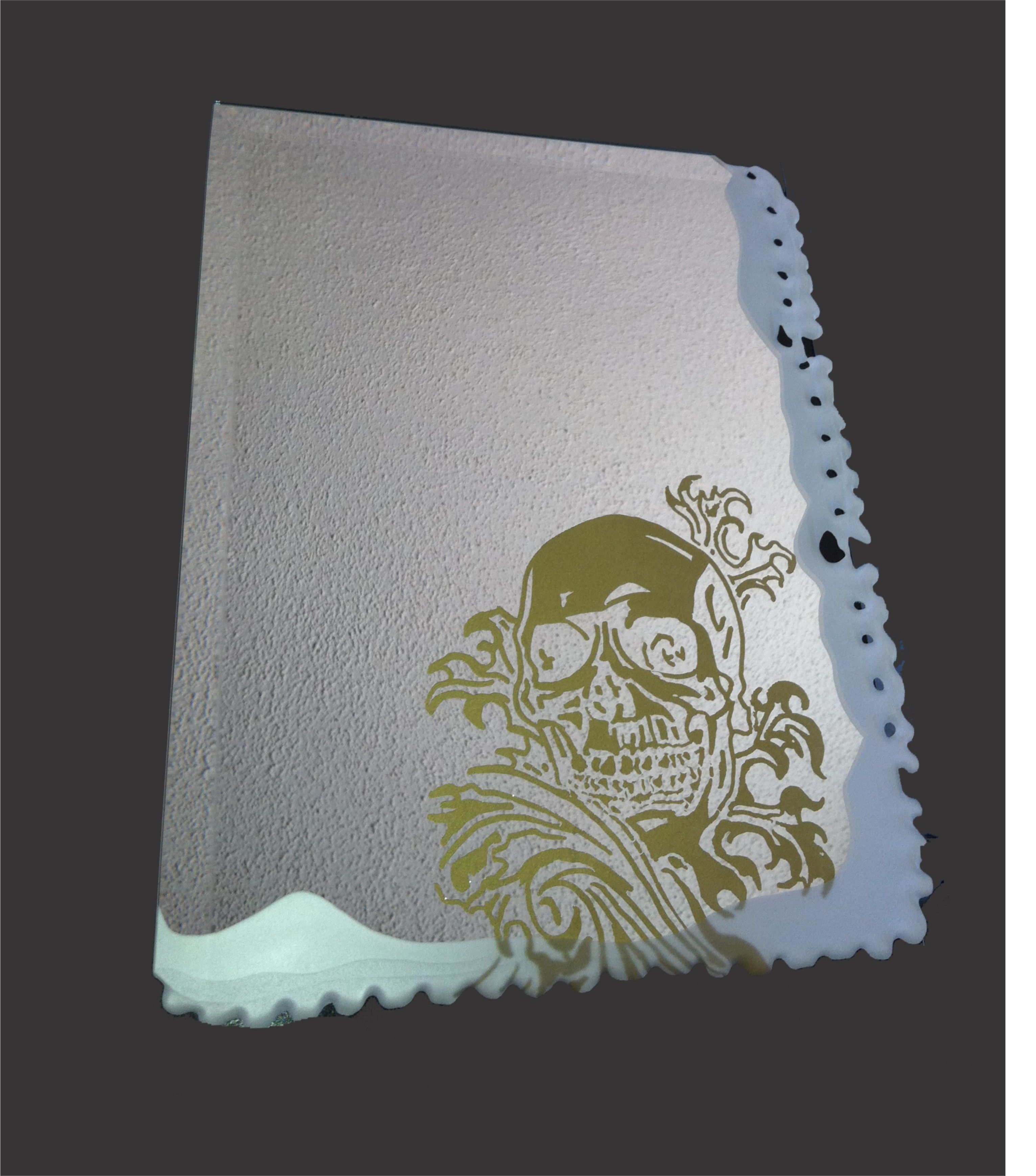 Skull Waves On Mirror Is A Creative Surface Etch With Creative Edging Etched Mirror Sand Glass Glass Mirror