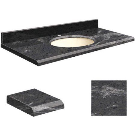 Transolid Quartz 37 inch x 22 inch Bathroom Vanity Top with Beveled Edge, Single Faucet Hole and Biscuit Bowl, Available in Various Colors, Black