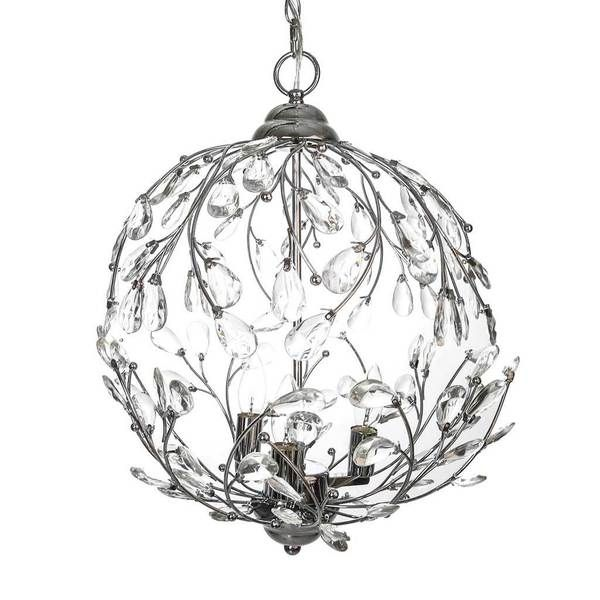 River of goods 20 inch hanging garden glam pendant lamp pendant silver 3 lights crystal