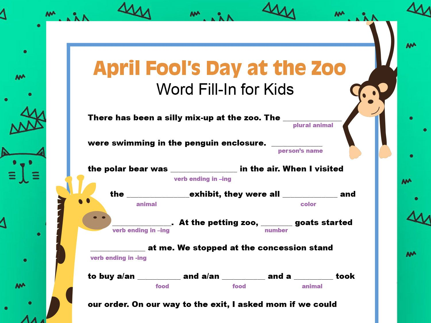 Create A Wacky Tale With This Printable That Also