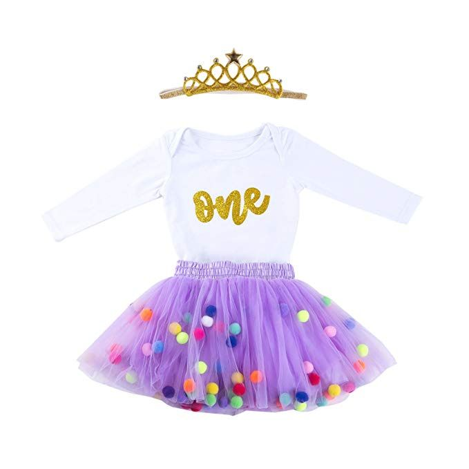 366d4f054e15 Baby Girls 1st Birthday Outfit Glitter One Romper Balls Skirt Crown Headband:  Clothing #Beauty