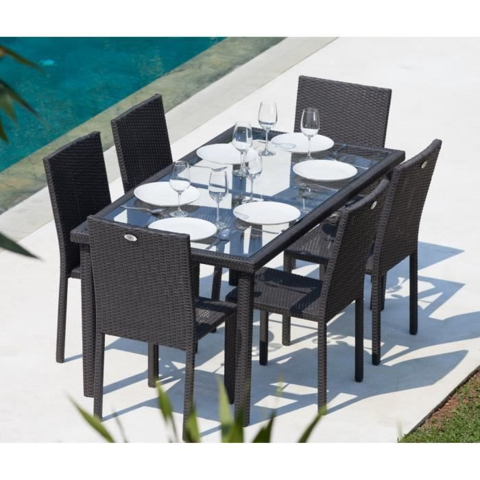 top soldes arcachon ensemble table de jardin 6 places acier et r sine tress e. Black Bedroom Furniture Sets. Home Design Ideas