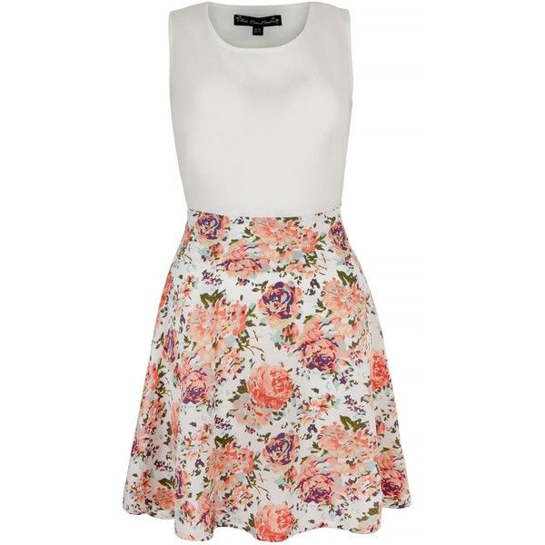 Mela Loves London Floral Print 2-in-1 Peplum dress (€34) ❤ liked on Polyvore featuring dresses, white, women, white peplum dress, white summer dresses, sleeveless summer dresses, sleeveless peplum dress y collar dress