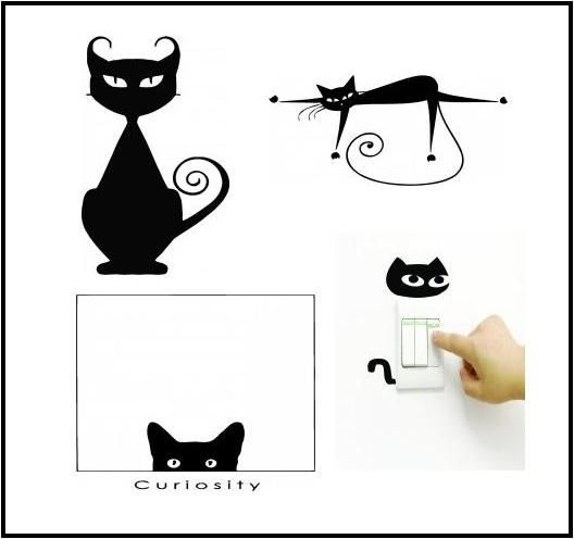 Cat Wall Decals Cat Wall Decals Design With Vinyl Decorating - Vinyl decal cat pinterest