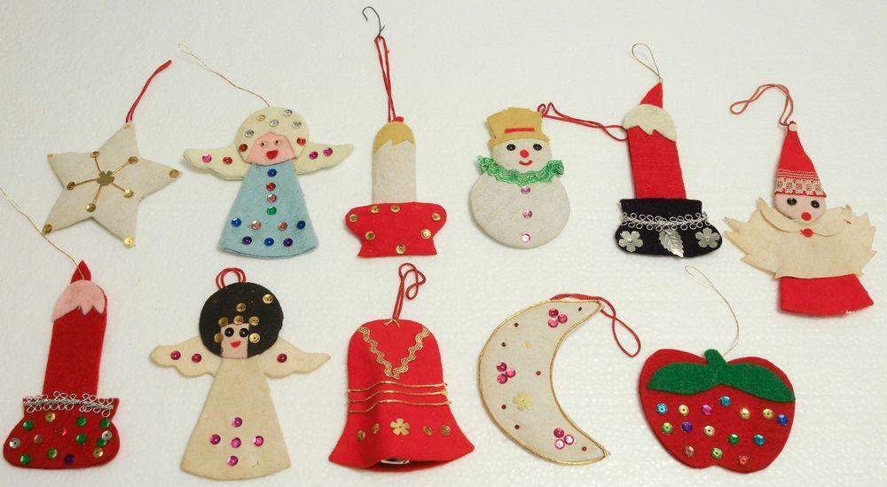 Vintage Felt Christmas Ornaments Felt Sequins Angels Candles Bell Snowman Etc Vintage Christmas Ornaments Christmas Ornaments Felt Christmas Ornaments