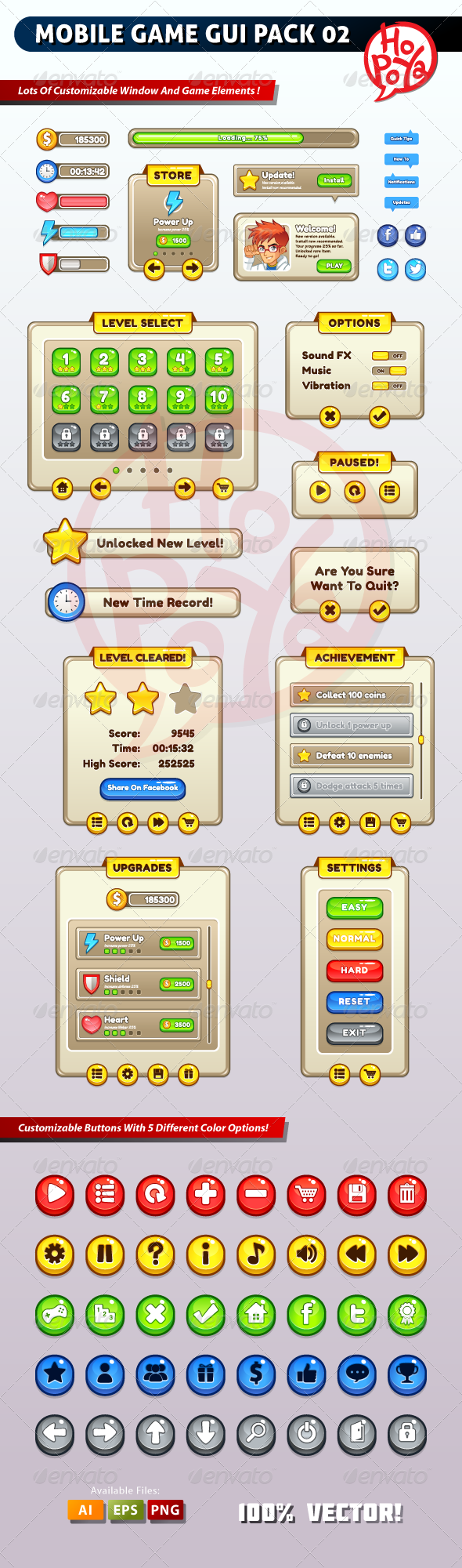 Mobile Game GUI Pack Mobile User Interface Template Vector EPS, Vector AI. Download here: http://graphicriver.net/item/mobile-game-gui-pack-02/6331982?s_rank=2&ref=yinkira