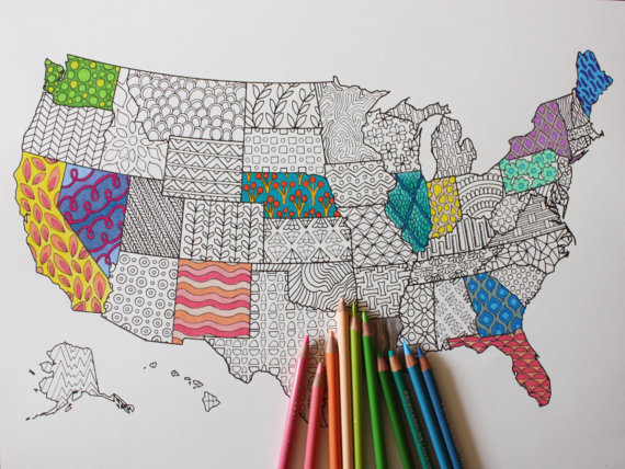 US Map Adult Coloring Poster Book Page To Frame United States