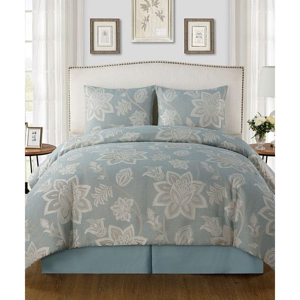 Victoria Classics Blue Ramona Comforter Set ($70) ❤ liked on Polyvore featuring home, bed & bath, bedding, comforters, floral comforter sets, blue comforter, blue bedding, blue shams and blue pillow shams