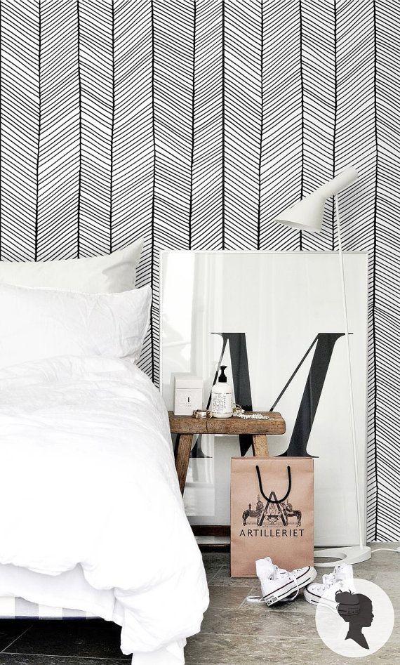 Black Herringbone Removable Wallpaper Geometric Self Adhesive Etsy Patterned Vinyl Striped Wallpaper Diagonal Stripes Pattern
