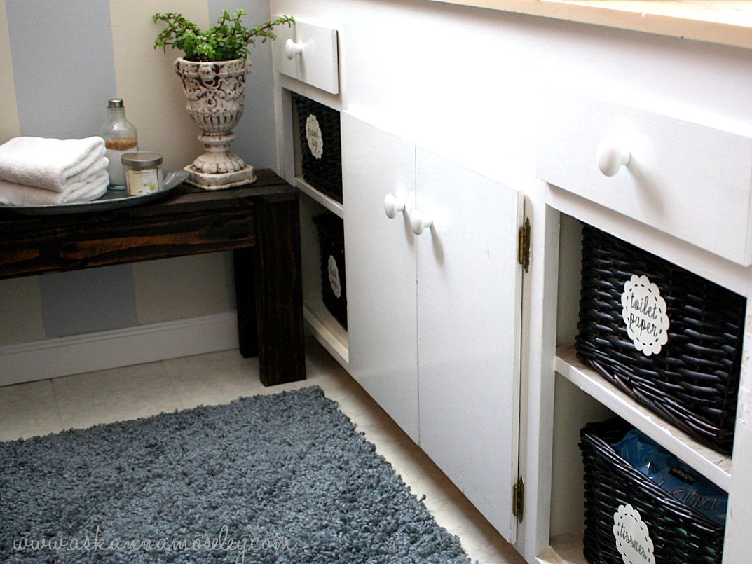 Love The Baskets In Instead Of The Extra Doors! Spare Bathroom Makeover,  The Reveal!   Ask Anna
