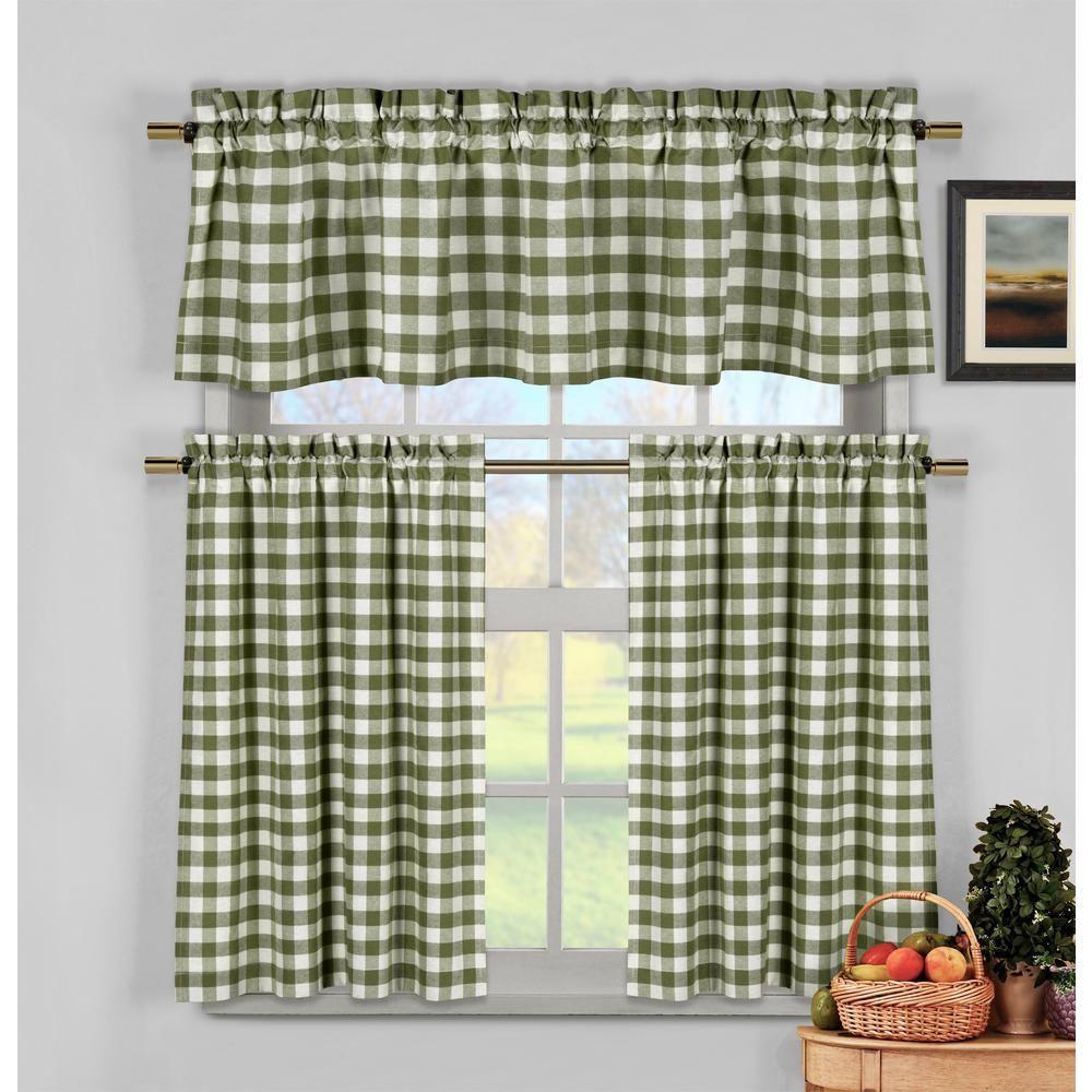 Duck River Kingston Sage (Green) Kitchen Curtain Set - 58 in ...