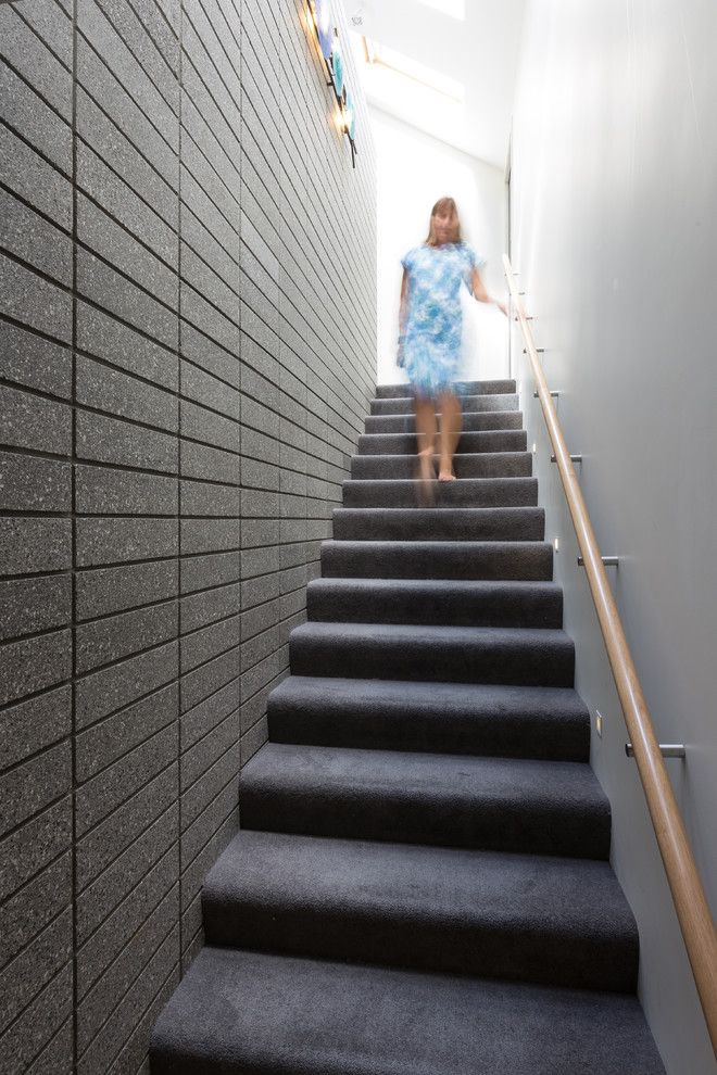 Cool Handrail Brackets Convention Auckland Modern Staircase Inspiration With Carpet On Stairs Contemporary Artwork Stairwell Dark