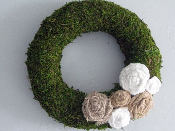 Moss Wreath  14  natural by TheWalnutStreetHouse on Etsy, $39.00