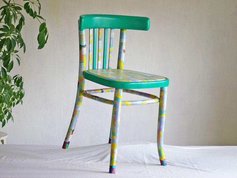 Bunter Holzstuhl Beklebt Stuhl Muster Farbig Lehne