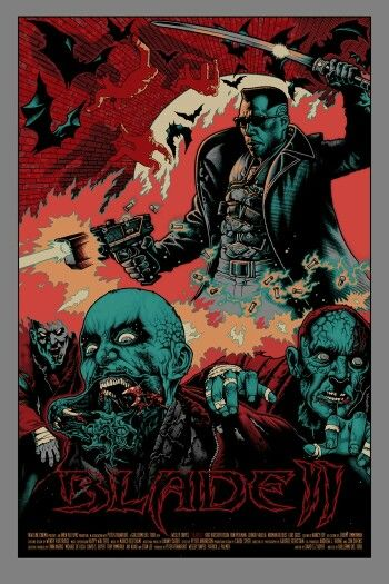 Blade 2 badass animated poster with junkie vampires.