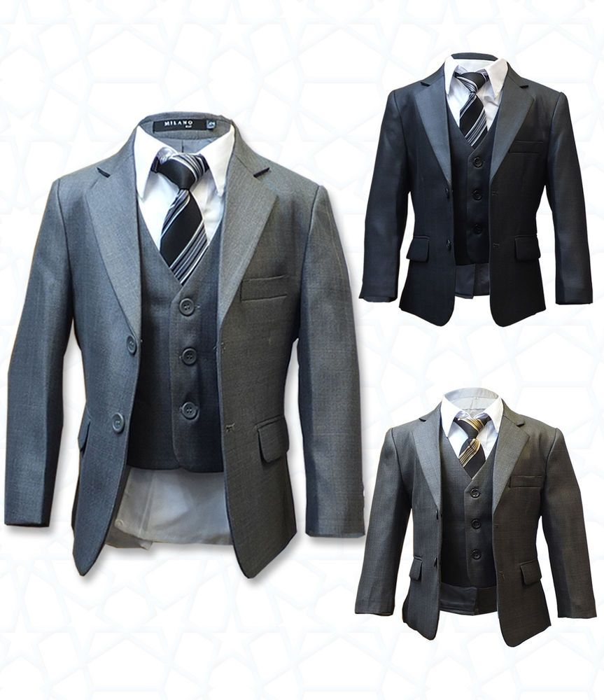 Boys formal 5 piece suits page boy prom wedding suit in grey, brown ...