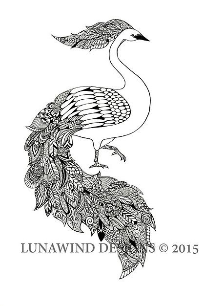 Peacock Swan Bird Tattoo Idea Baby Nursery Art Lunawind Adult Coloring Book Drawing Pen And Ink Black White Color Zentangle Intricate